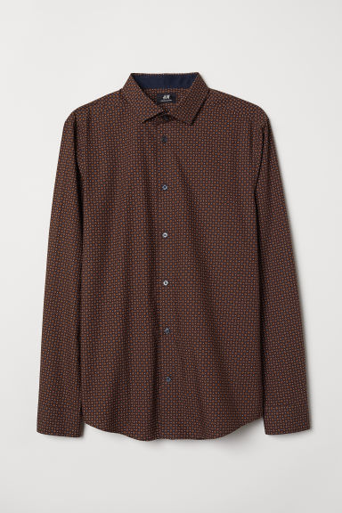 Premium cotton shirt - Burgundy/Patterned - Men | H&M