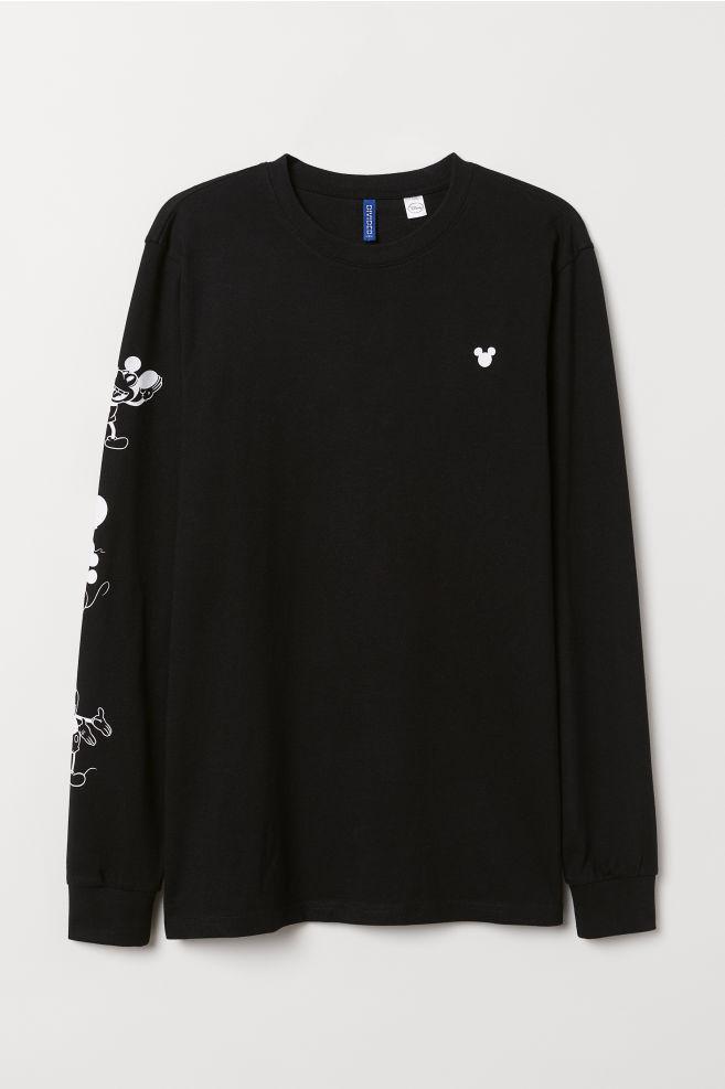 12fad57050dcd5 Long-sleeved Jersey Shirt - Black/Mickey Mouse - Men | H&M ...