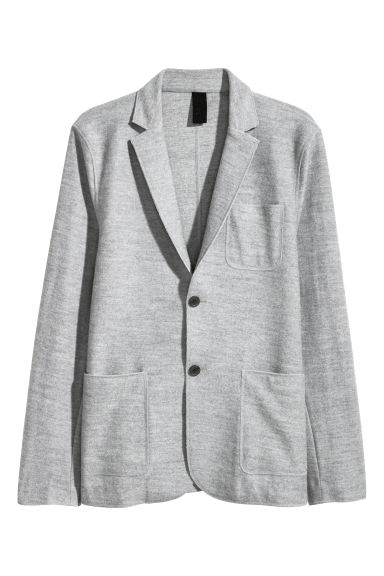 Wool-blend jacket Slim fit - Light grey marl - Men | H&M CN