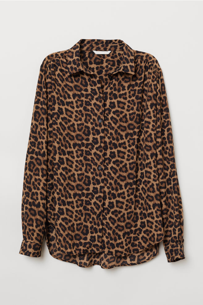 d3f0351ec86 Long-sleeved Blouse - Brown/leopard print - Ladies | H&M ...