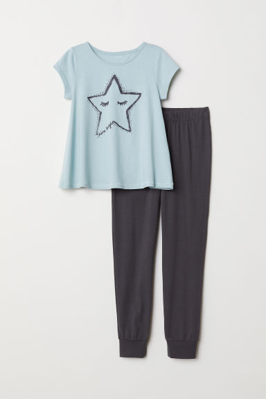 Jersey pyjamas - Light turquoise/Star - Kids | H&M