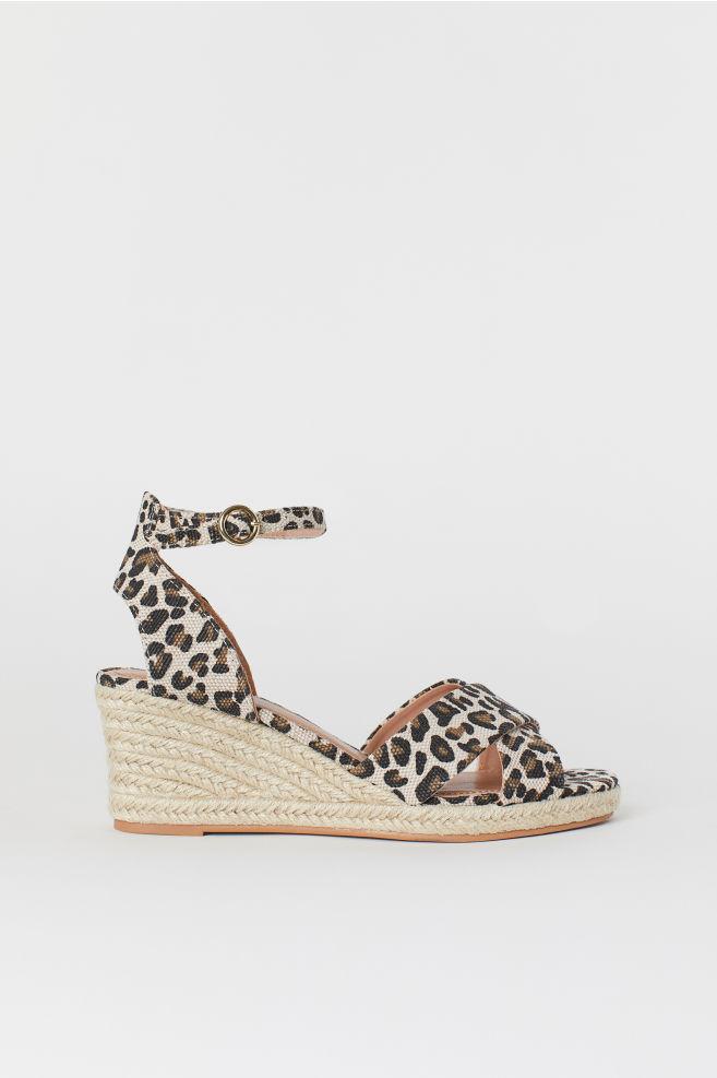 096f93c8b1 Wedge-heel sandals - Light beige/Leopard print - Ladies | H&M ...
