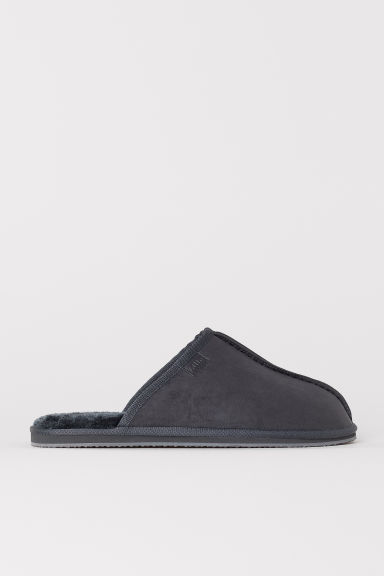 Pile-lined slippers - Dark grey -  | H&M