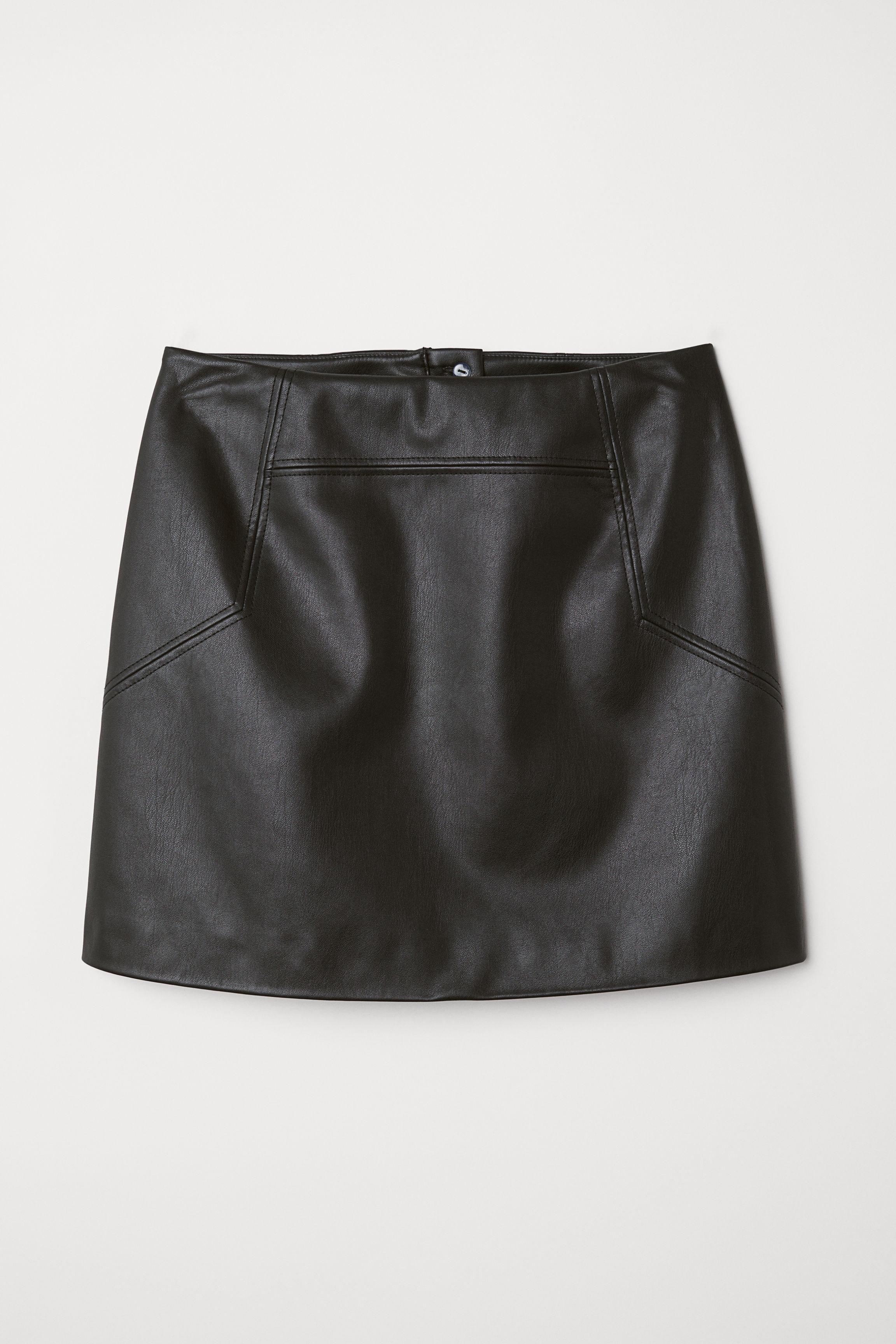 2b21e55a42d2 Brown Faux Leather Wrap Skirt