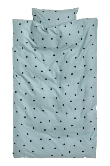 Spotted duvet cover set - Light turquoise/Black spotted - Home All | H&M CN