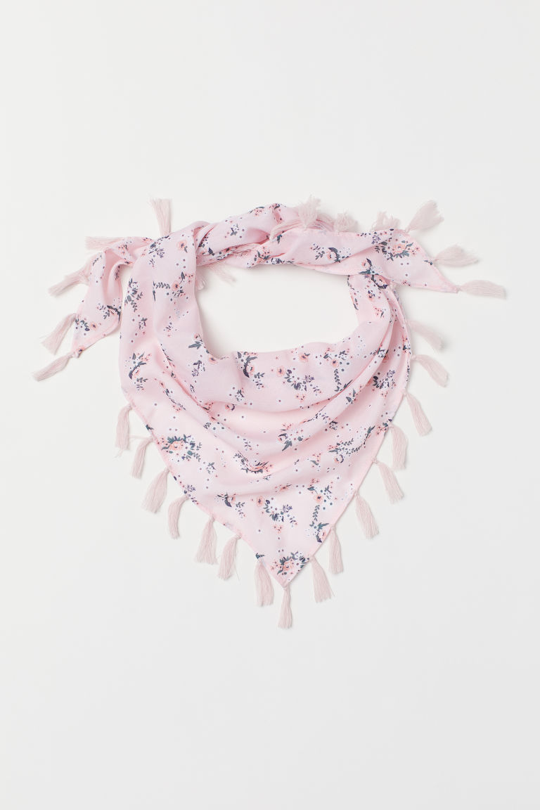 Fringed scarf - Pink/Floral - Kids | H&M GB
