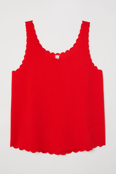 Scallop-edged vest top - Bright red - Ladies | H&M CN