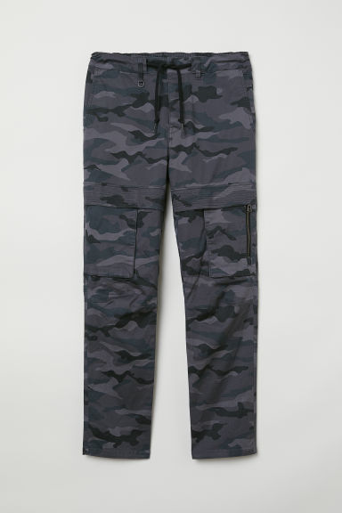 Cargo trousers - Dark grey/Patterned - Men | H&M