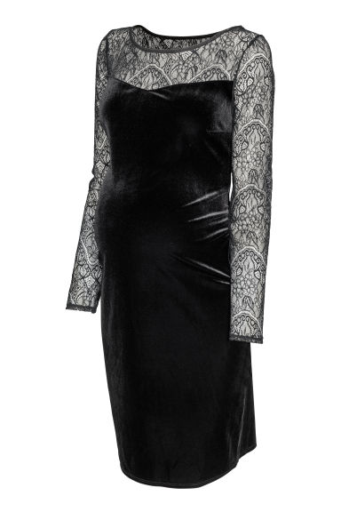 MAMA Velour dress - Black - Ladies | H&M