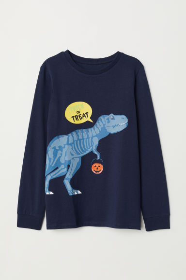 Jersey top with a print motif - Dark blue/Dinosaur - Kids | H&M