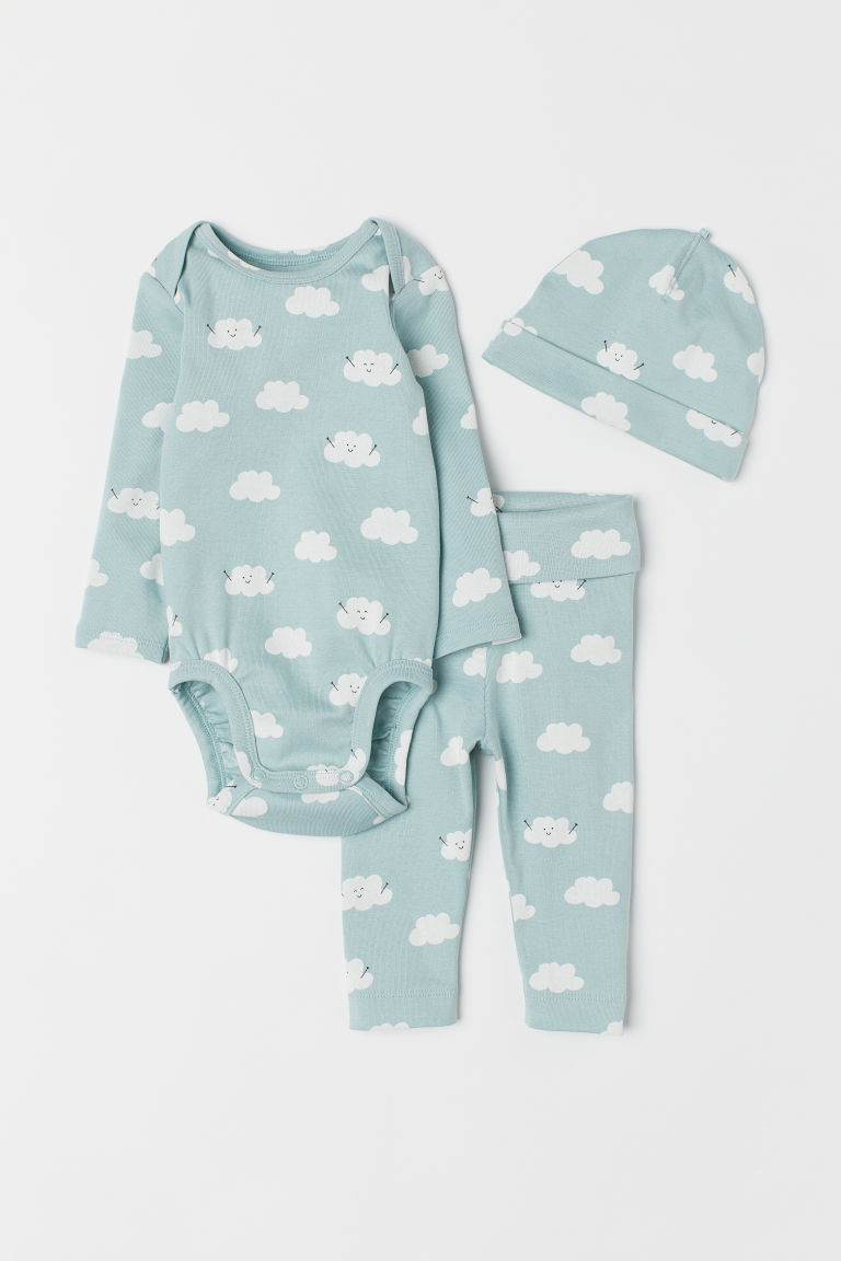 3-piece jersey set - Light turquoise/Clouds - Kids | H&M