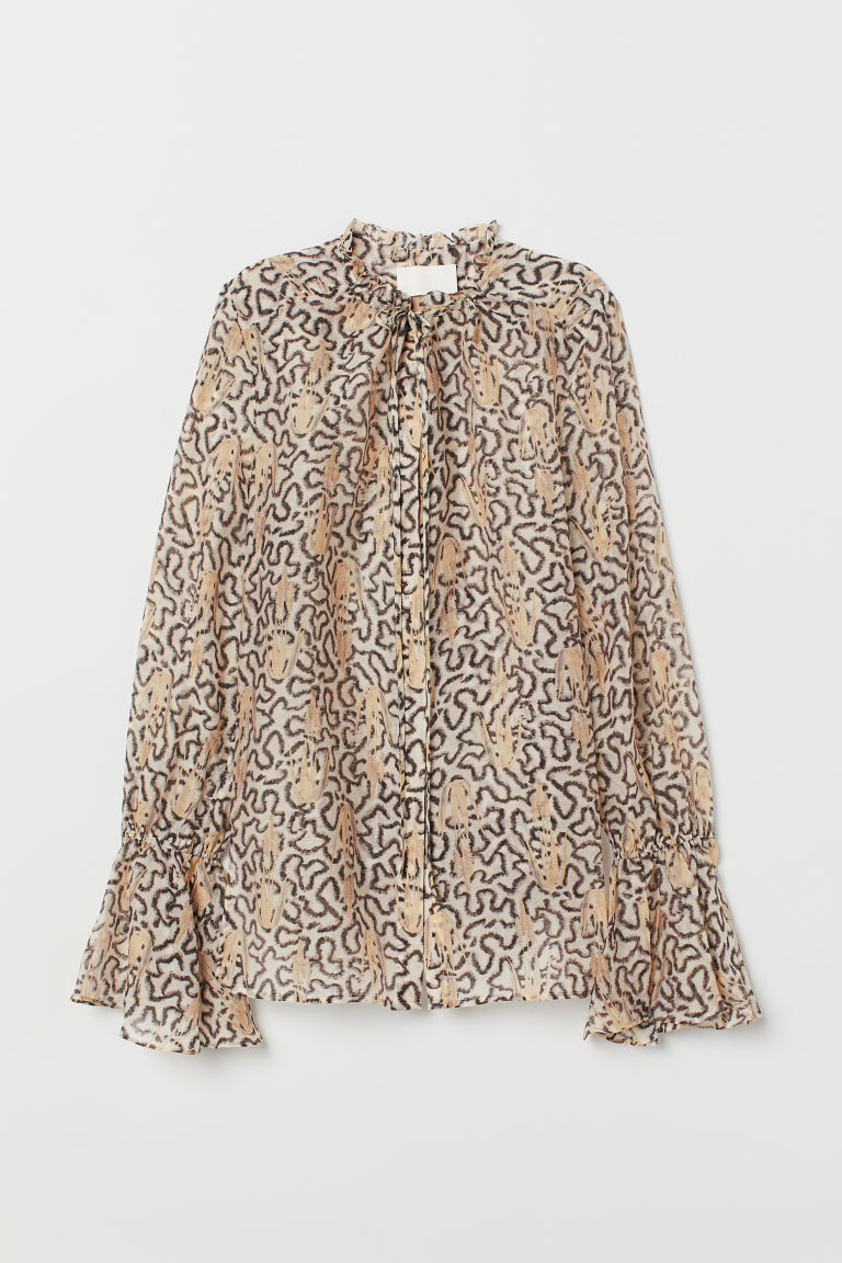 Lyocell-blend blouse - Light beige/Patterned - Ladies | H&M GB