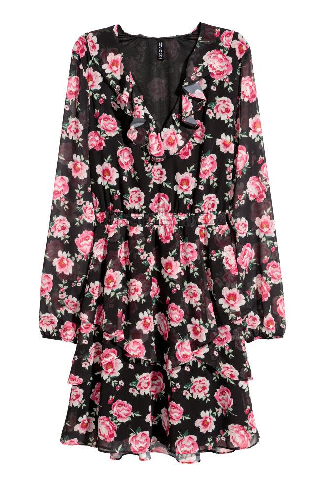 4987f9b9236c Chiffon Dress with Flounces - Black/floral -   H&M ...