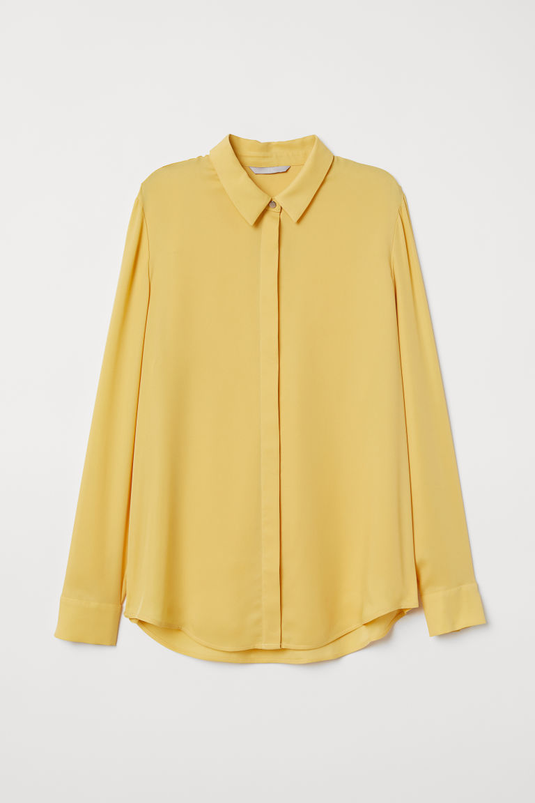 Long-sleeved blouse - Yellow - Ladies | H&M CN