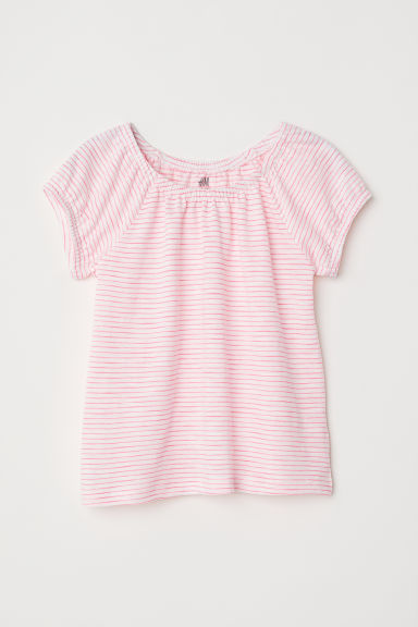 Jersey top - White/Pink striped -  | H&M