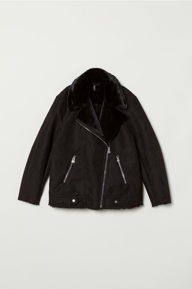 8e9cd4cb52a Faux Fur-lined Biker Jacket - Black -