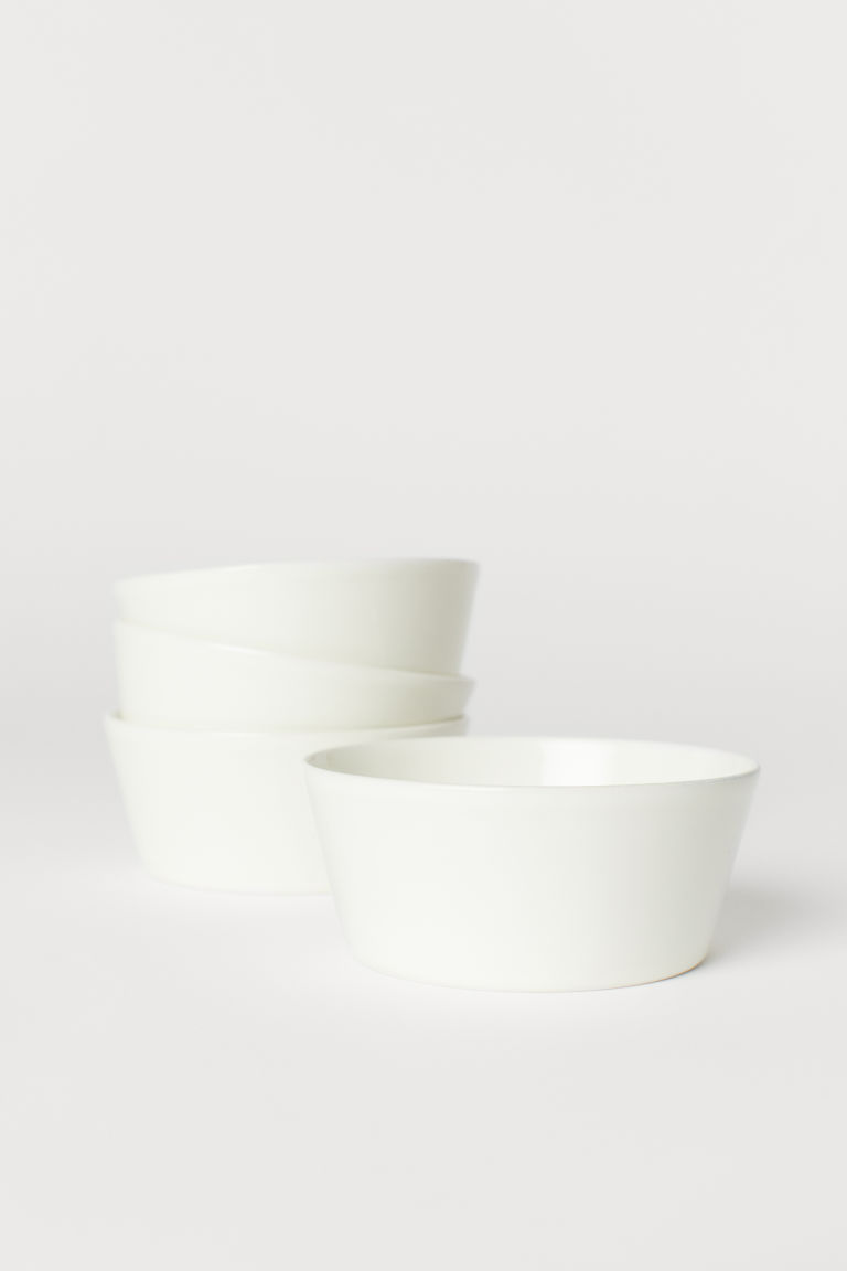 Bols en céramique, lot de 4 - Blanc - Home All | H&M CA