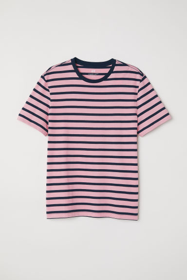 T-shirt Regular fit - Pink/Striped - Men | H&M