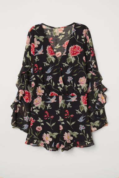 Patterned playsuit - Black/Floral - Ladies | H&M