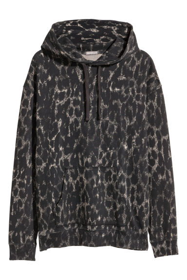 Bleached hooded top - Black/Grey patterned - Men | H&M IE