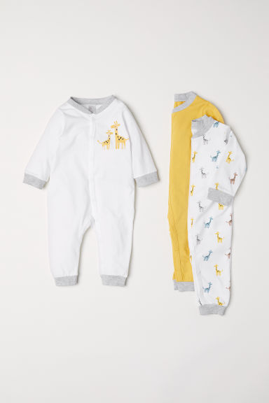 3-pack cotton pyjamas - Yellow/Giraffes - Kids | H&M GB
