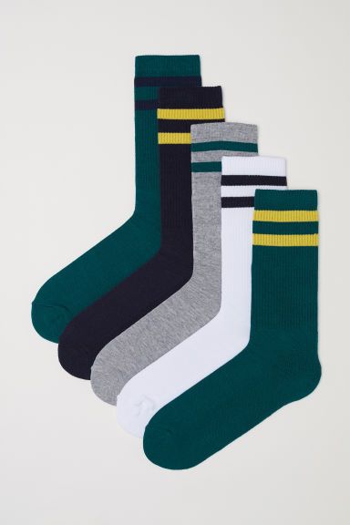 5-pack socks - Dark green - Men | H&M IN