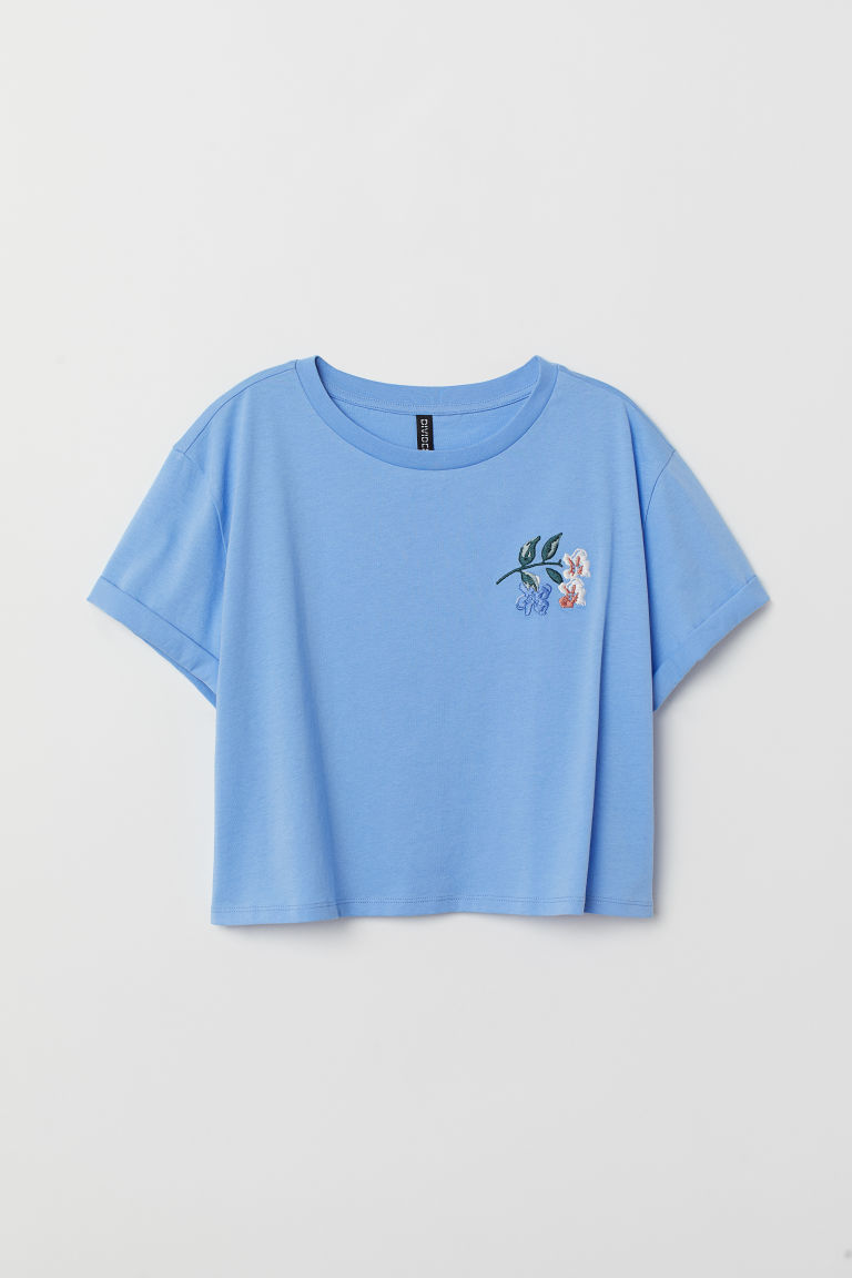 Short T-shirt - Light blue -  | H&M