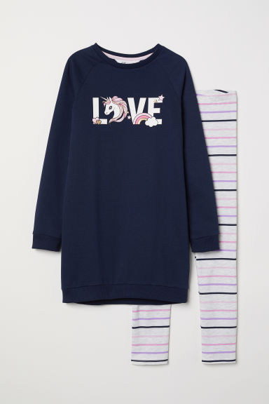 Sweatshirt and leggings - Dark blue/Love - Kids | H&M