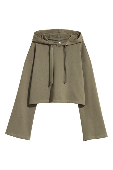 Short hooded top - Khaki green -  | H&M