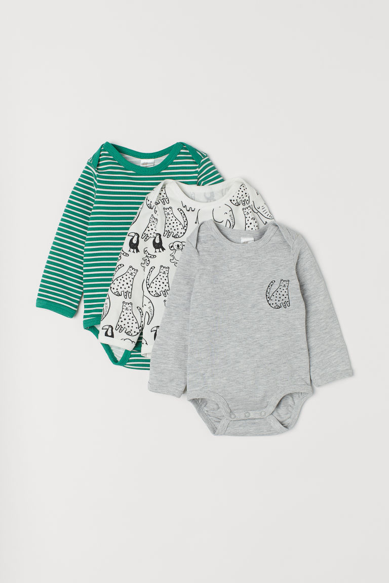 3-pack bodysuits - Green/White striped -  | H&M