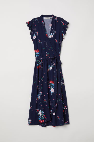 Wrap dress - Dark blue/Floral -  | H&M GB