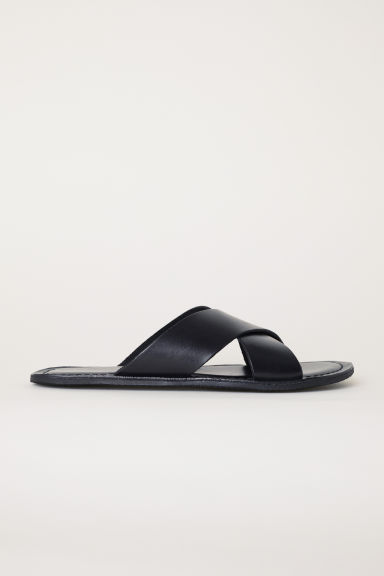 Leather sandals - Black - Men | H&M CN