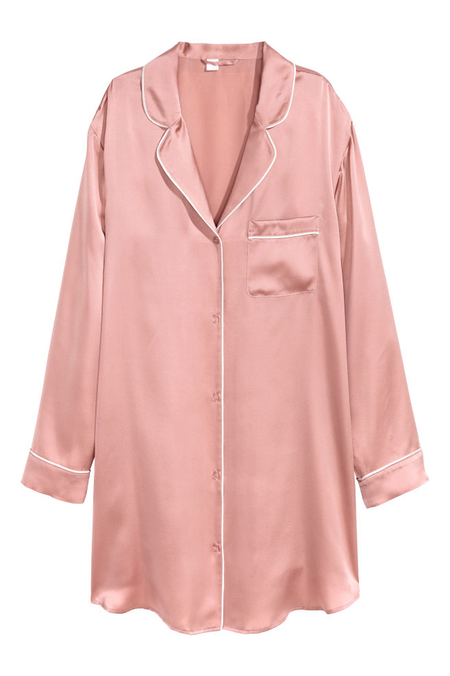 da9b8f76 Nattskjorte i silke - Rosa - DAME   H&M ...