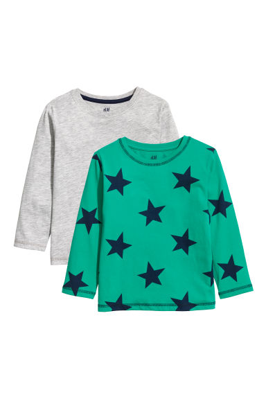 2-pack jersey tops - Green/Stars - Kids | H&M CN