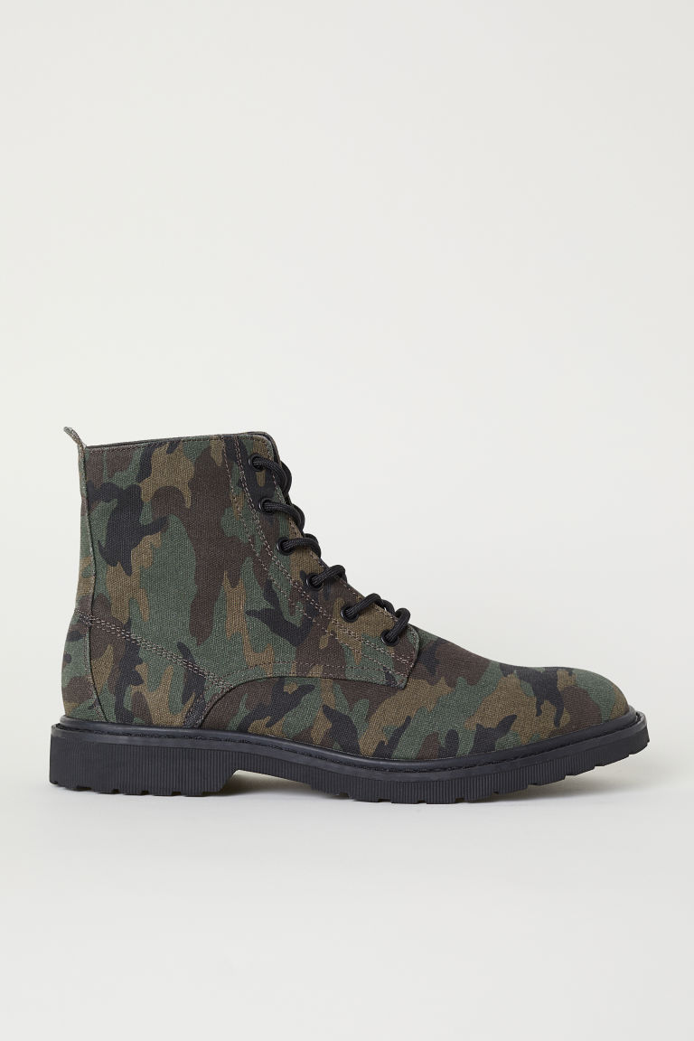Canvas boots - Dark green/Patterned - Men | H&M CN
