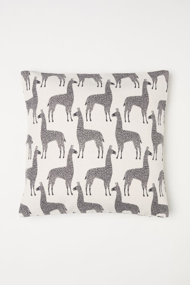 Patterned cotton cushion cover - Natural white/Llamas - Home All | H&M CN