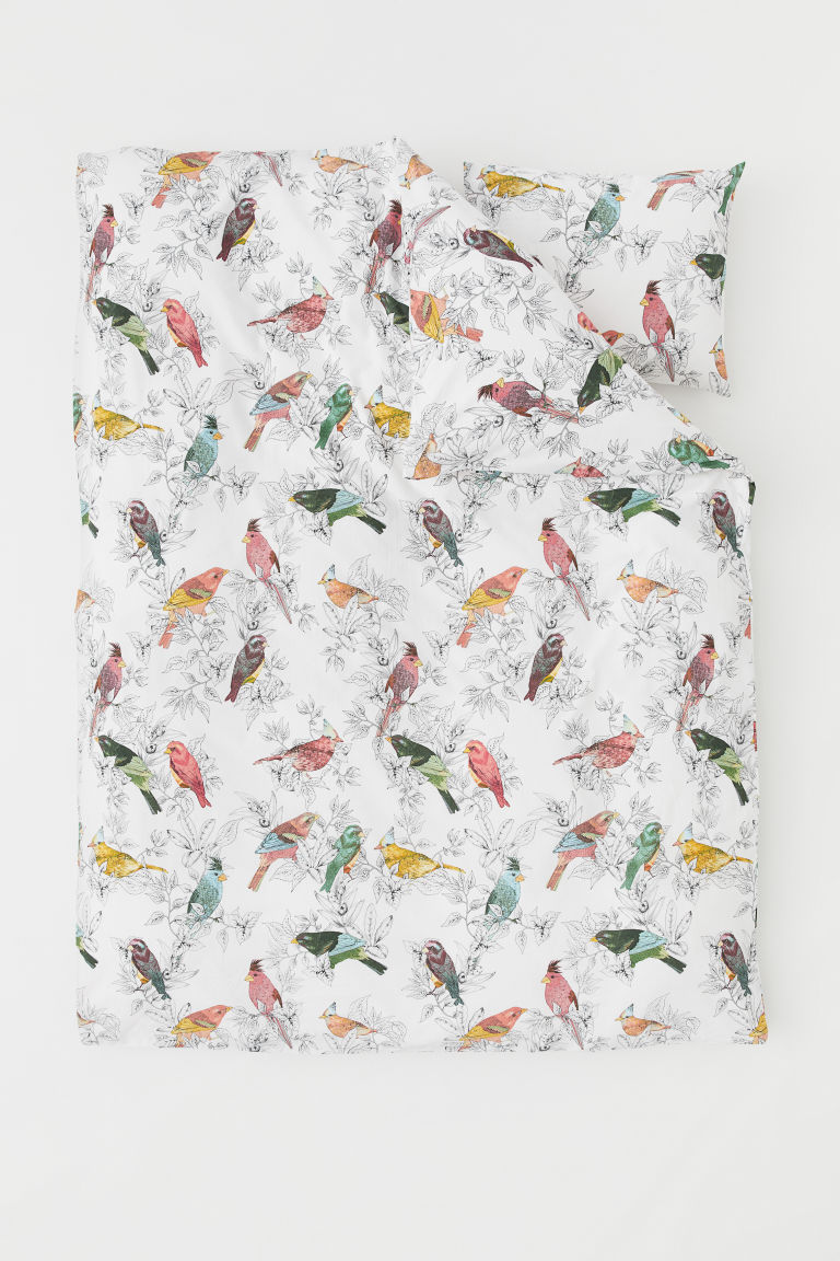 Set funda de duvet estampada - Blanco/Aves - Home All | H&M MX