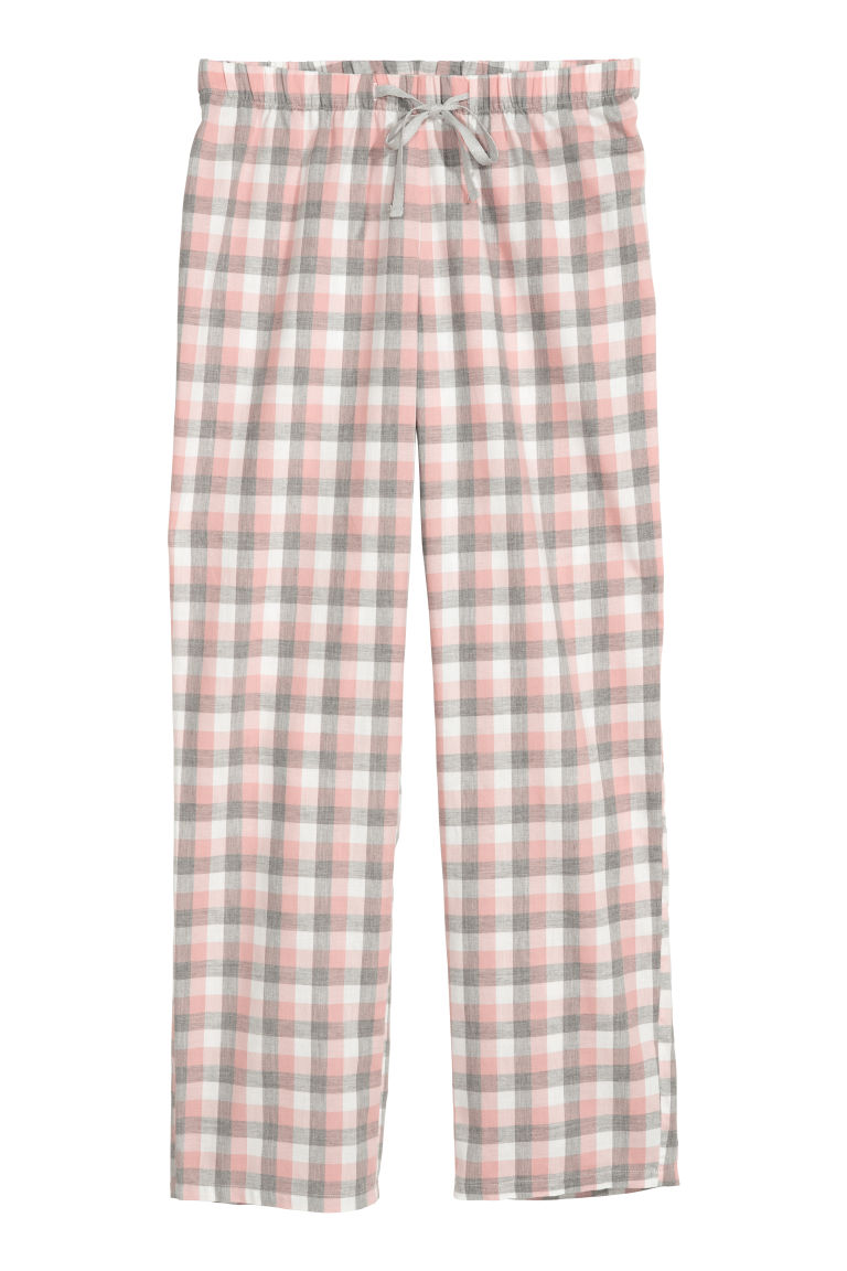 Flannel pyjama bottoms - Pink/Grey checked - Ladies | H&M GB