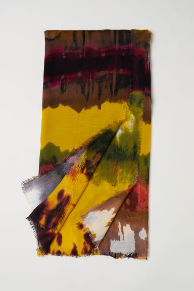 Patterned scarf - Yellow/Multicoloured -  | H&M CN