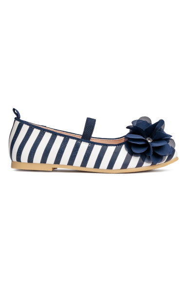 Ballet pumps - Dark blue/White striped -  | H&M CN