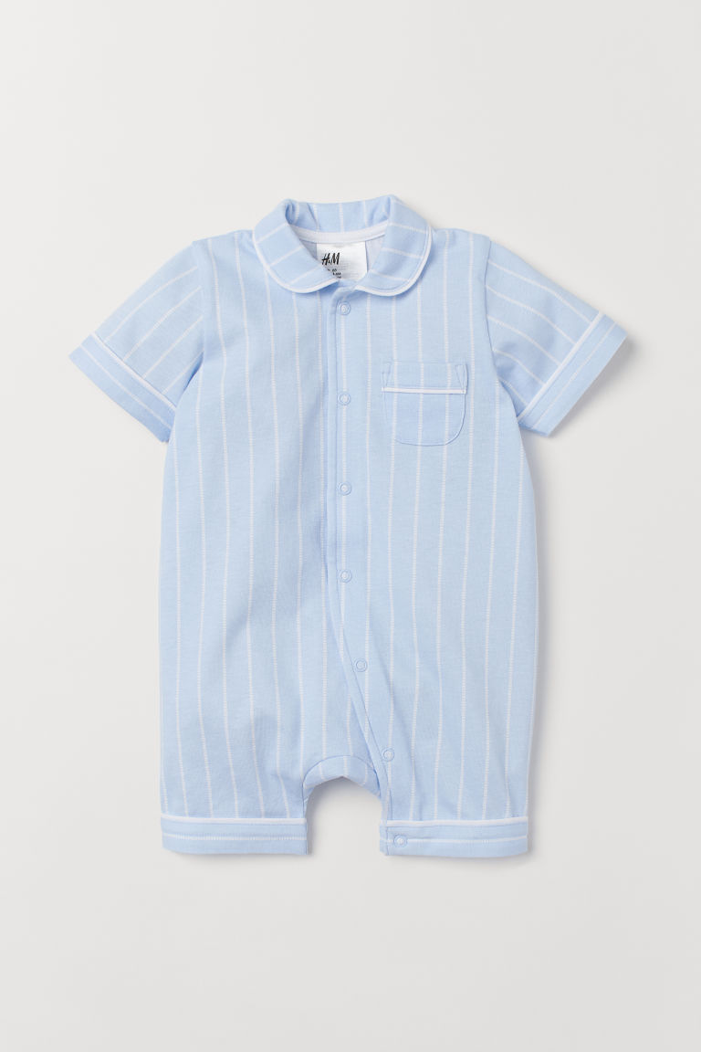 Cotton Jumpsuit - Light blue/white striped - Kids | H&M US