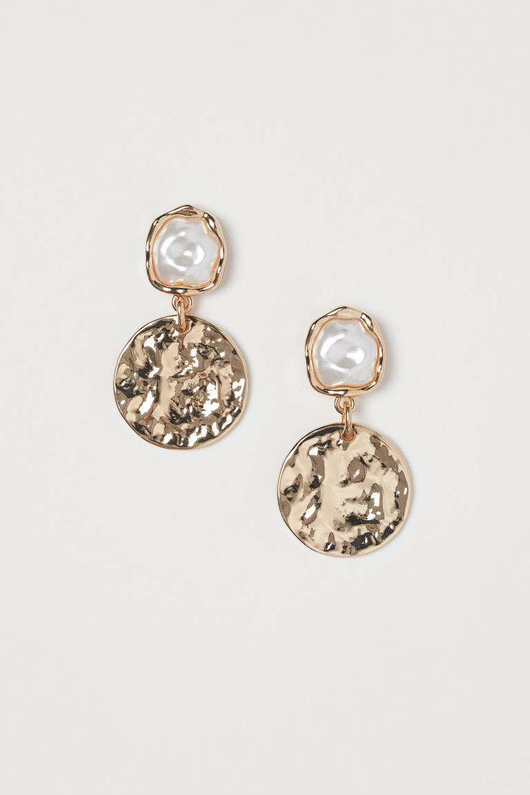 Hammered Earrings - Gold-colored/white - Ladies | H&M CA