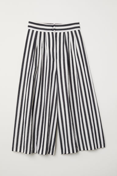 Wide trousers - White/Black striped -  | H&M
