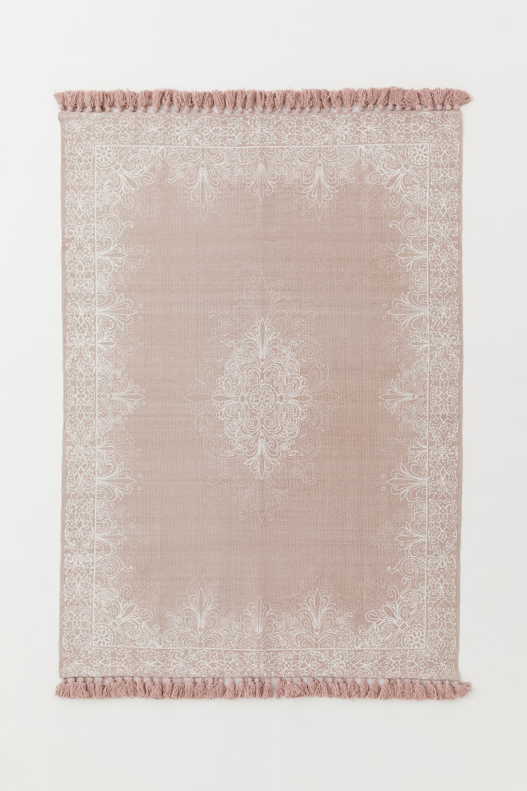 Tasselled cotton rug - Powder pink/White patterned - Home All | H&M GB