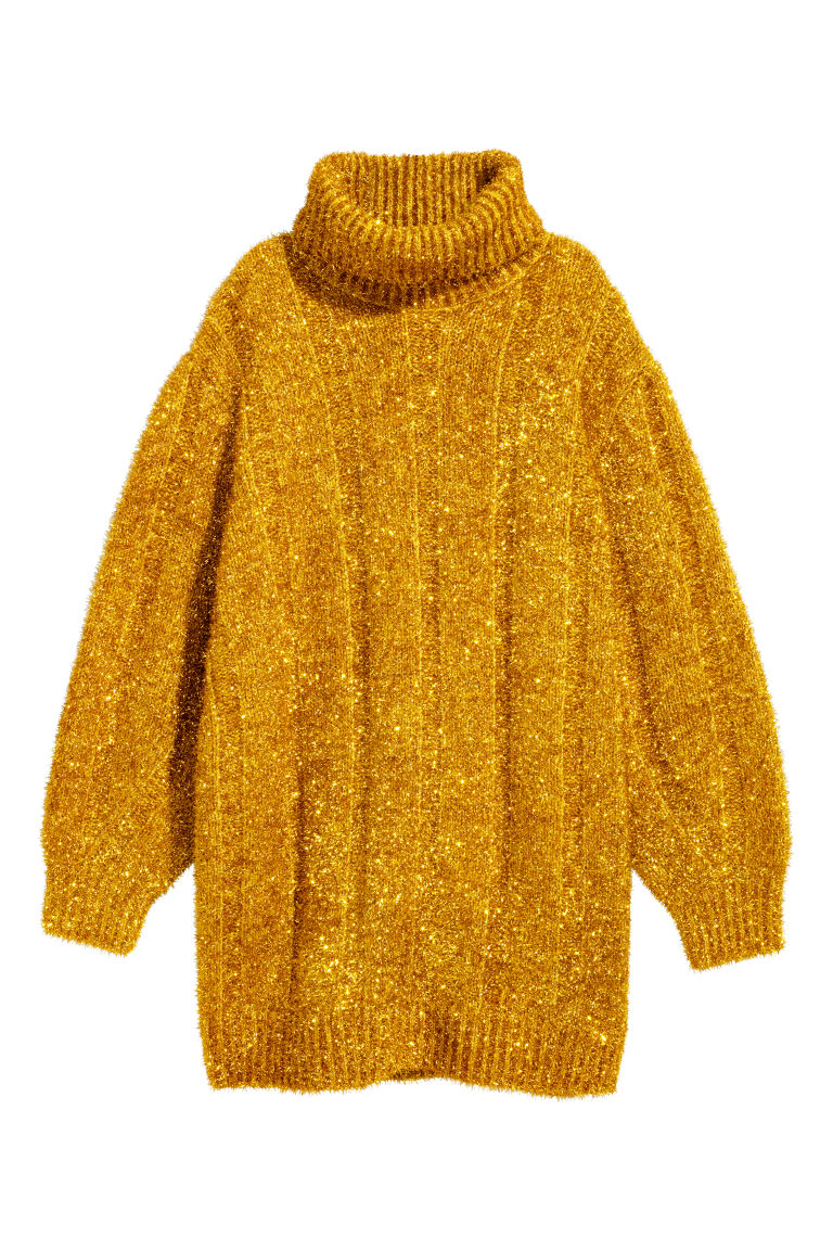 Knitted polo-neck dress - Gold-coloured - Ladies | H&M
