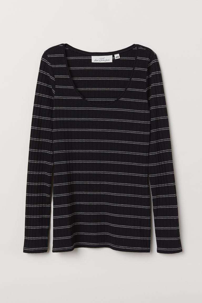 Ribbed jersey top - Black/White striped - Ladies | H&M CN