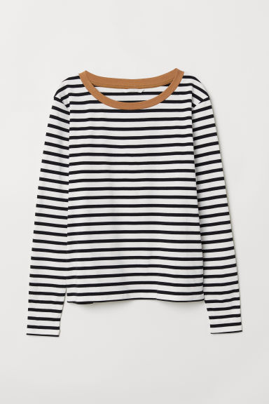 Striped jersey top - Black/White striped - Ladies | H&M