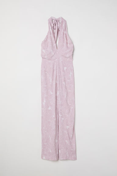 Halterneck jumpsuit - Light purple/White patterned - Ladies | H&M