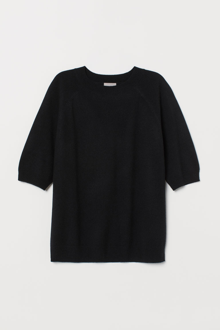 Short-sleeved cashmere jumper - Black - Ladies | H&M GB
