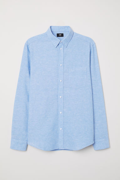Linen-blend shirt Slim Fit - Blue -  | H&M CN